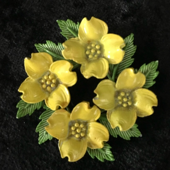 524d72f1a Vintage Jewelry   Metal Enamel Yellow Flowers Brooch Pin   Poshmark